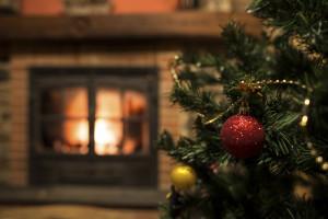 Tree christmas and Fireplace